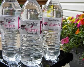 Graduation Party Water Bottle Labels - Personalized Graduation Water Bottle Labels - Graduation Party Favors - Graduation Water Bottles