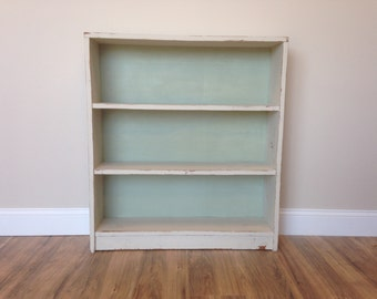 White Bookshelf, Small Bookcase, Farmhouse Decor, Storage Shelf, Distressed Furniture