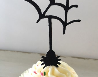 Halloween Cupcake Toppers, Spider Cupcake Toppers, Halloween Party Decorations, (12) Spider Cupcake Toppers