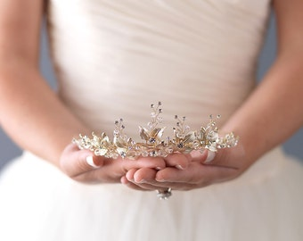 Wedding Tiara,Gold Floral Tiara, Bridal Tiara, Princess Tiara, Gold Bridal Crown, Gold Leaf Crown, Gold Tiara, Tiaras For Wedding ~TI-3283-G