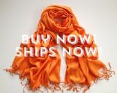 Beautiful Orange Scarf, Luxurious Orange shawl, Orange Scarves, Shawls, Wedding Scarf, Gift for Bridesmaid, Wedding Keepsake, Accessory,