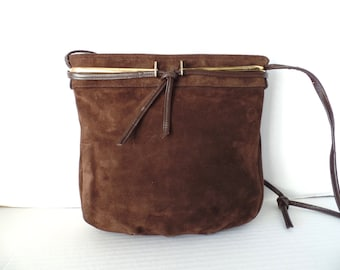 Vintage 60's Brown Suede Purse, Brown, Suede, Leather, Purse, Spaghetti strap, Block