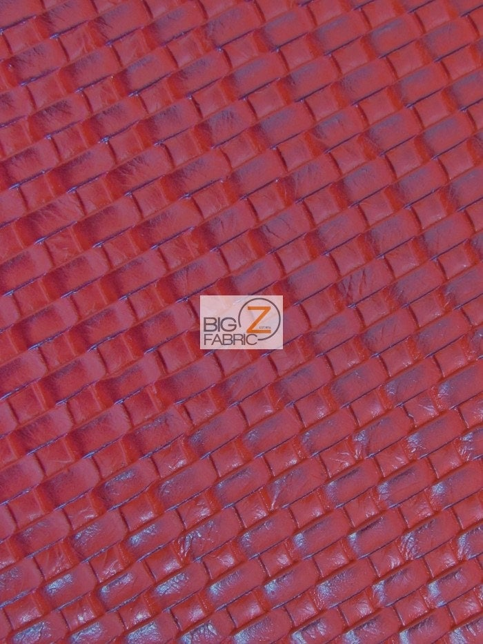 Lattice Basket Weave Upholstery Vinyl Fabric Red By The