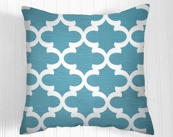 Pillow Covers One 20 X 20   Coastal Blue Accent Pillows   Throw Pillows. Blue  Decorative 20 X 20