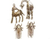 4 Antique Silver Assorted Charms - 22-6-6