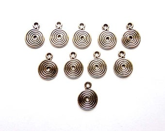 10 Antique Silver Swirl Drop Charms - 21-59-8