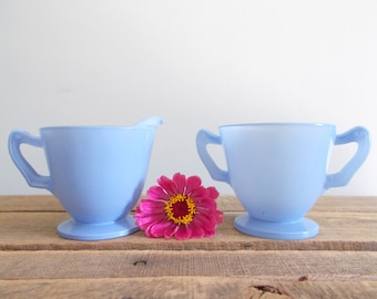 Periwinkle Creamer and Sugar Bowl