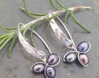 """Freshwater Pearl """"Petal Earring"""", with Hammered Sterling Silver Ear Wire.  Available in a variety of colors."""