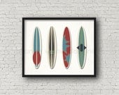 Vintage Surfboard Collection Art Print (376AOWD) 8x10 art print Surfing, Sun, Beach, Sea, Ocean, Catch a wave, surf, surfboarding art print