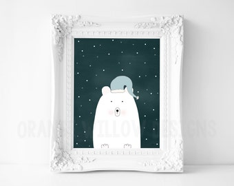 Polar Bear Winter Art Print  (371AOWD) 8x10 Polar Bear Winter Sky Snowflakes Home, Nursery Art Print Winter Dreaming Sleeping Cap Polar Bear