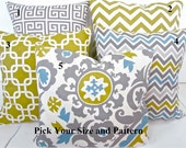 THROW PILLOWS Decorative Throw Pillows 20x20 16 18 Gray Citron Green Decorative pillows Grey Pillow Blue .Sale. Home and Living .Clearance.