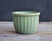 Antique Stoneware Bowl ~ Vintage Ribbed Custard Cup ~ Stoneware ~ Green Ribbed Bowl