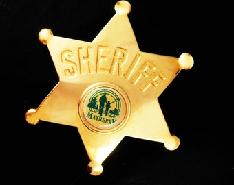 Sheriff star Andy of Mayberry Badge Old Vegas C clasp wild west lawman vintage Opie novelty cool gold mens gift North carolina