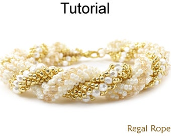 Beading Tutorial Pattern - Bracelet Necklace - Double Spiral Stitch - Simple Bead Patterns - Regal Rope #18599