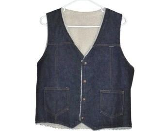 Vintage 70s Nelson fleece lined dark wash mens denim jean snap front v neck vest