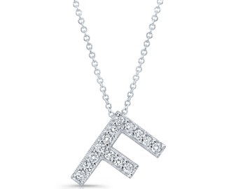 "Diamond initial pendant in the letter ""F"" 14k white gold 0.15 ctw G color VS2 clarity"