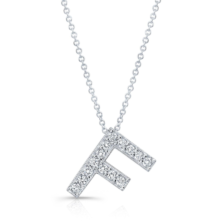 Diamond initial pendant in the letter F 14k white