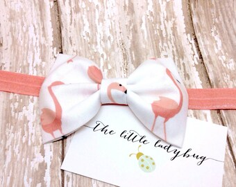 Finley Fabric Bow in White with Coral Flamingos--Headband or Clip