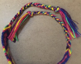 Yellow, Pink and Blue Friendship Bracelet