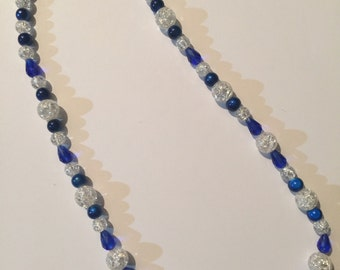 Blue Crystal and Pearl Beaded Necklace