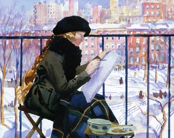 Woman Painting Washington Square Park from Blancony, 1920 - Vintage Photo Art Print, Ready to Frame!
