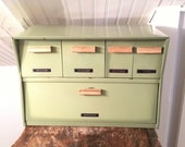 Vintage 1960s Krestline Mid-Century Canister Drawer Box Avocado Green With Wood Handles & Retro Decal Labels Bread Flour Sugar Coffee Tea