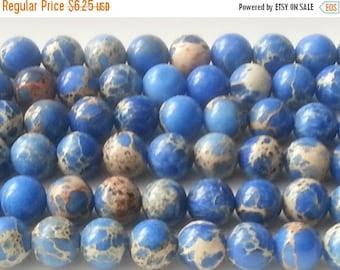 "1-16"" Strand Blue Impression Jasper 10mm Smooth Rounds (38 Beads)"
