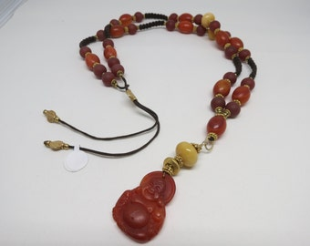 Carnelian Budha Necklace