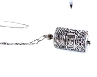 Antique Silver Necklace Pendant Snuff or Poison or Prayer Box Jewelry Sterling Chain Tibetan Bedoin Jewish Yemeni ?