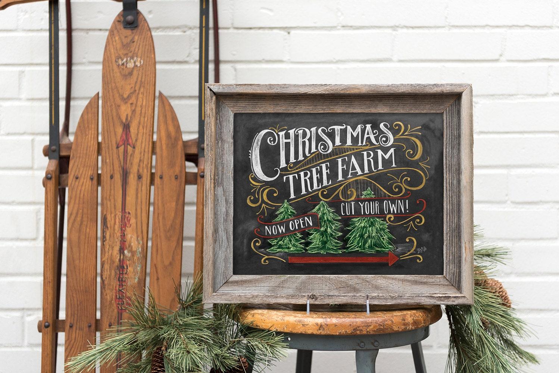 christmas tree farm sign lumberjack decor christmas home decor chalkboard art rustic - Vintage Christmas Home Decor