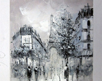 8 by 10 inches - Paris street scene - Nr.049 - Stretched - Museum Quality Oil Painting on Canvas Art