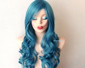Dark Teal blue wig. Long curly hairstyle with volume Heat resistant synthetic wig.