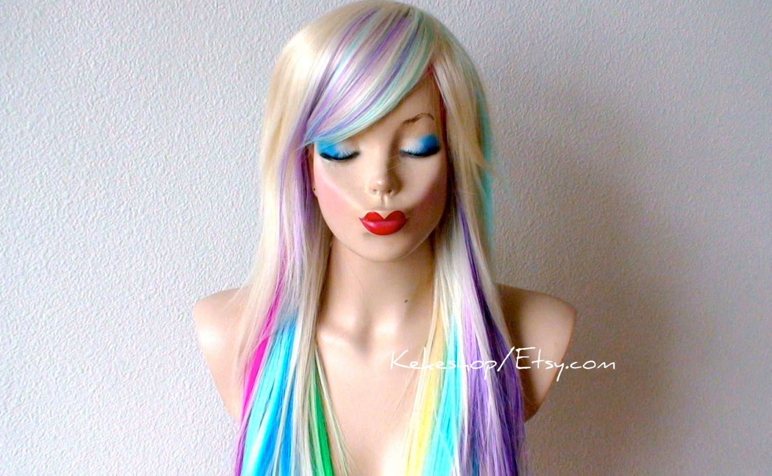 Rainbow Wig Blonde Hair Rainbow Ombre Wig Pastel Pink