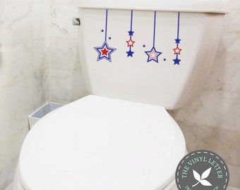 Independence Day   4th of July Stars Toilet Vinyl Decal Red Blue Sticker Bathroom