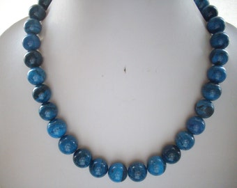 Midnight Royal Blue Black Marble Fossil Bead Necklace