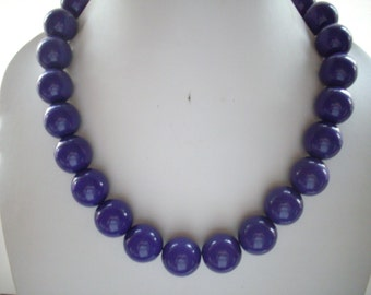 SALE Chunky Dark Rich Purple Vintage Acrylic Bead Necklace with Antique Silver Beads and Chain