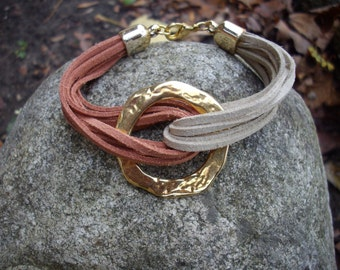 Multi Strand Tan and Rusty Brown Suede Bracelet with Large Hammered Gold Ring Connector