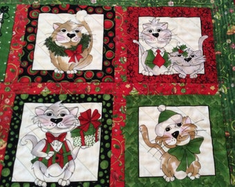 Quilted Christmas Cats lap robe, cozy throw, wall hanging, reds, greens, white, whimsical, holiday decor,