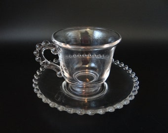 Imperial Candlewick Tea Cup and Saucer - Pretty Vintage Glass Tea Cup and Saucer - Imperial Candlewick - Tea Party - 4 Available