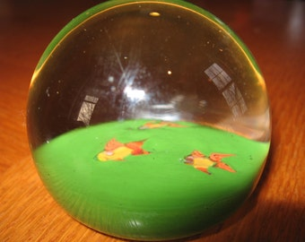 SALE 1980s Goldfish Blown Glass Paperweight