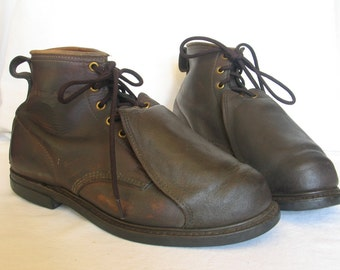 IRON AGE Steel Metatarsal Shielded Men's Work Boots Industrial Union Made In USA size 10.5 vintage 1960's in excellent vintage condition