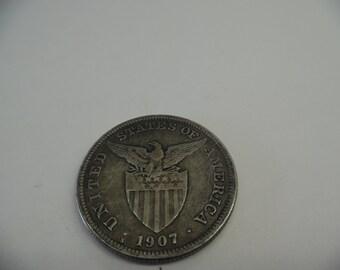 1907 Silver Philippine Peso