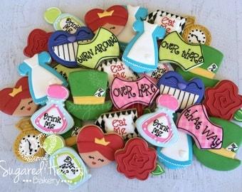 Alice in Wonderland Tea Party Inspired Birthday Cookies - 2 Dozen