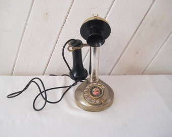Vintage candlestick phone, rotary phone, vintage working telephone, reproduction phone, 60s 70s