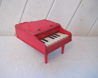 Vintage red wood piano, toy piano, 50s mid century, toy musical instrument, miniature piano, collectible, gift for muscian