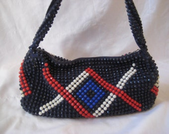 Red, white and blue beaded handbag, 4th of July purse, Independence day, top handle bag, bags and purses, shoulder bag, Rodger Van S