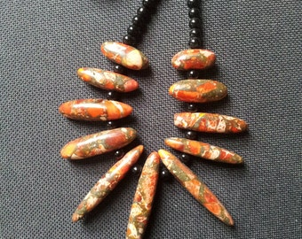 Orange Sea Sediment Jasper Necklace+Free Shipping Worldwide ~ crystal necklace, crystal jewelry, jasper necklace, crystal healing necklace