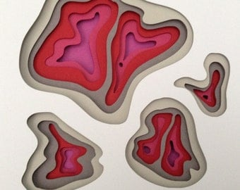 3D handmade paper sculpture. Grey and Red Waves