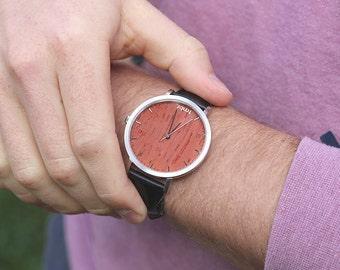 Boyfriend Gift Wooden Watch, Wood Watch For Men, Husband Gift Watch - HELM-RS