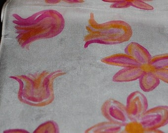 Hand painted long silk scarf
